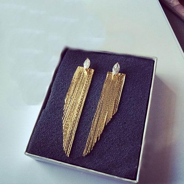 Nyilatkozat címer hosszú fülbevalók nőknek bijoux 2019 trendi - Divatékszer - Fénykép 3