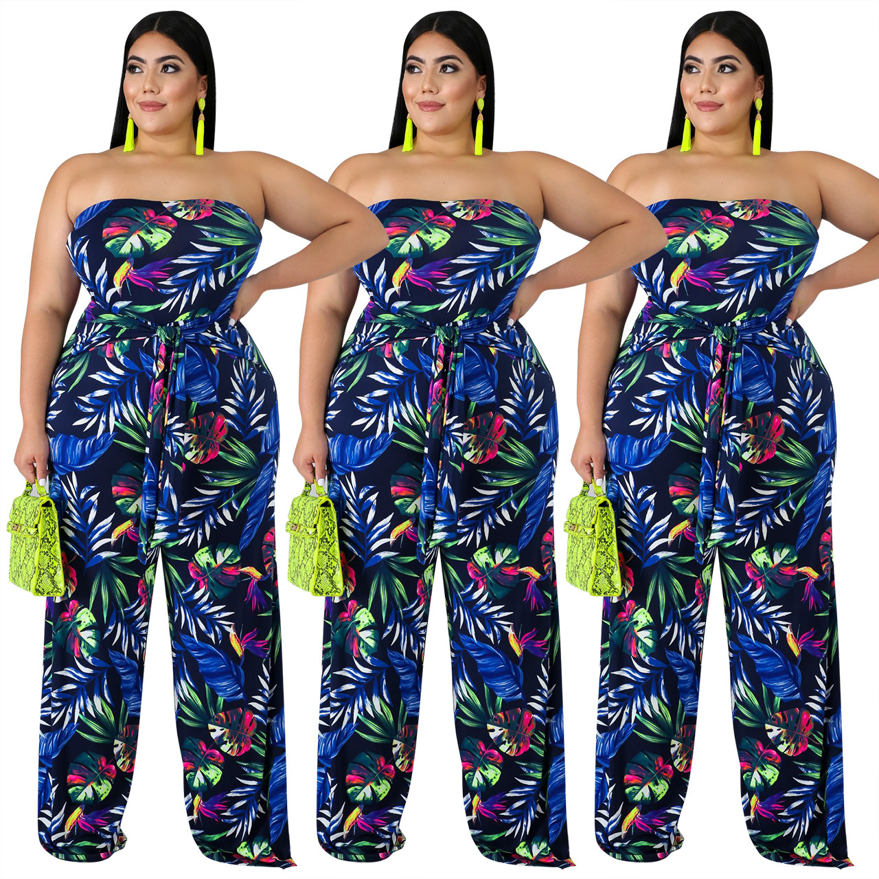 2019 new arrival sexy fashion style women printing plus size long jumpsuit L-3XL