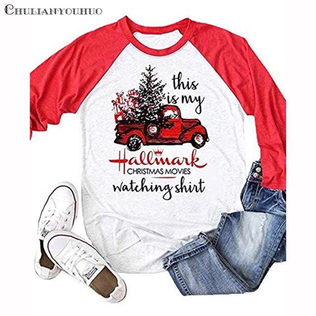 This Is My Hallmark Christmas Movies Shirt Raglan 3/4 Sleeve Funny Baseball Tshirt 2019 Clothing Casual Cute Female T Shirt