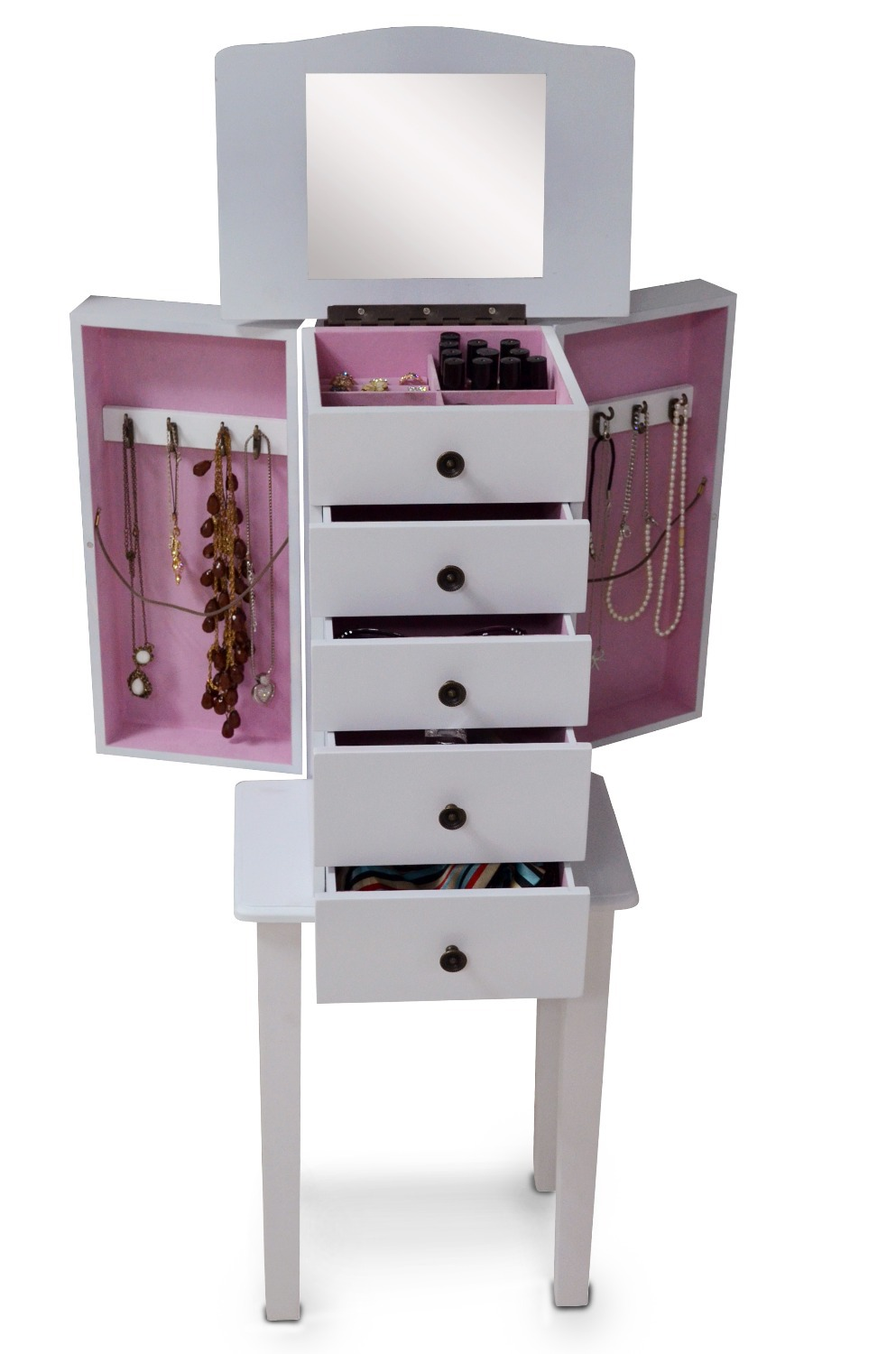 makeup box Living Room Furniture Jewelry Armoire mirrored funiture ...