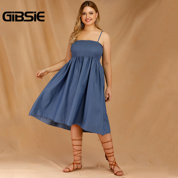 GIBSIE Plus Size Women's Denim Spaghetti Strap Dresses 2019 Summer Casual High Waist Big Hem Sleeveless Midi Dress Vestidos