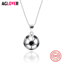 2018 Football Match Fans 925 Sterling Silver Round Ball Pendant Necklace 45cm Box Chain Man Woman Fashion Jewelry