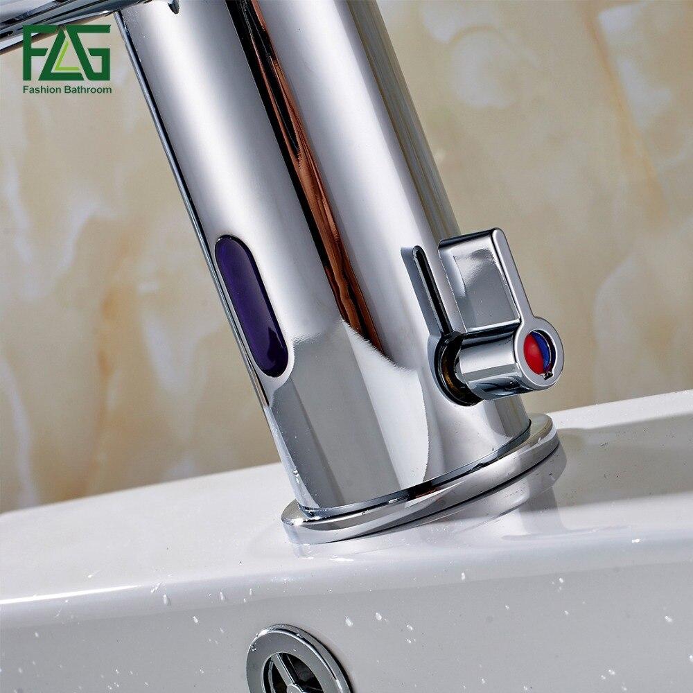 FLG capteur robinet automatique capteur gonflable main toucher robinet chaud froid mélangeur Chrome poli évier mélangeur salle de bains robinet bassin robinets - 4