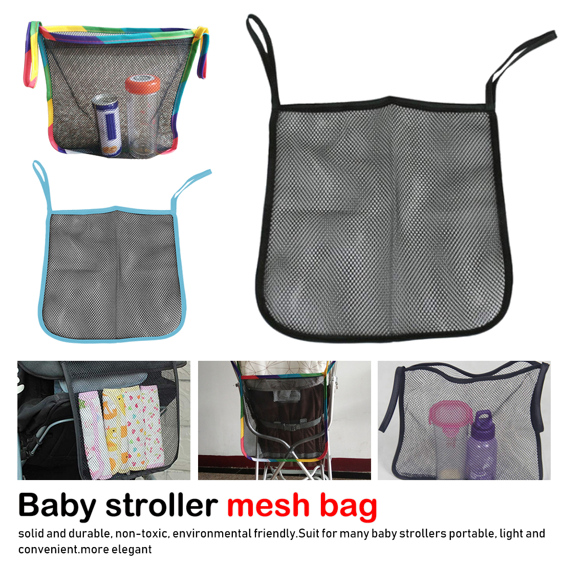 Practical Baby Trolley Bunch Net Pocket Infant Stroller Mesh Bottle Diaper Storage Organizer Bag Holder(China)