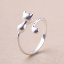 Silver Plated Three-dimensional Cute Cat Rings for Women Girl Jewelry Beautiful Finger Openings Rings for Party Birthday Gift