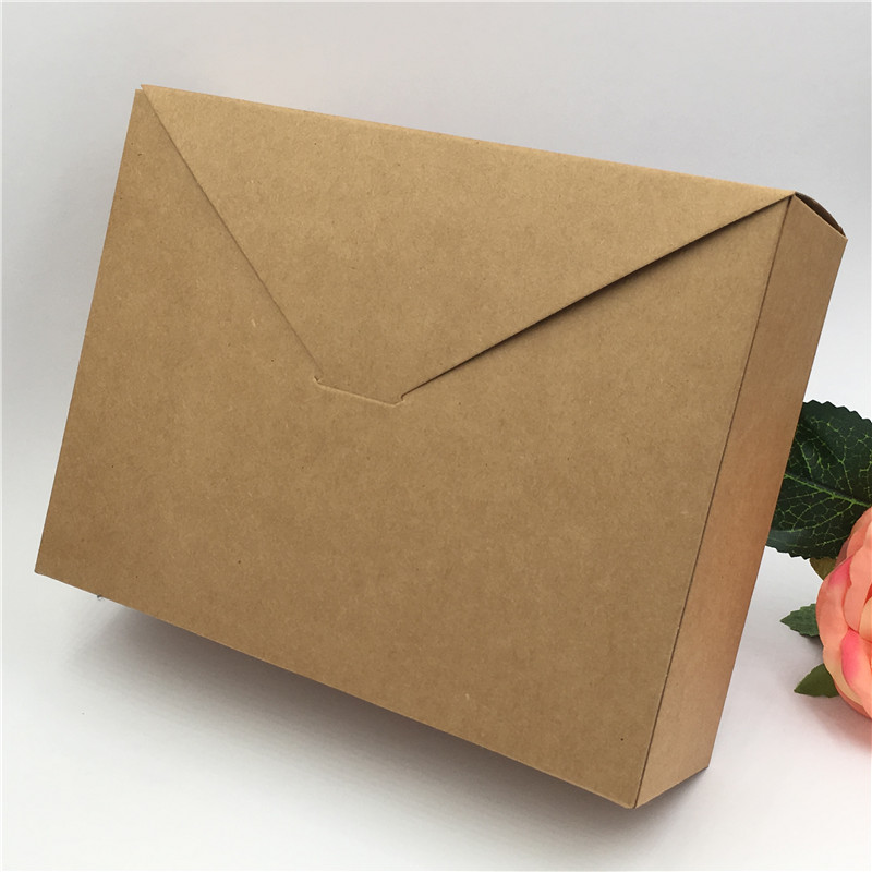 30Pcs Brown And Black Blank Large Size Square Shape Envelope Packaging Boxes Retro Kraft Handicraft Candy Packaging Bags