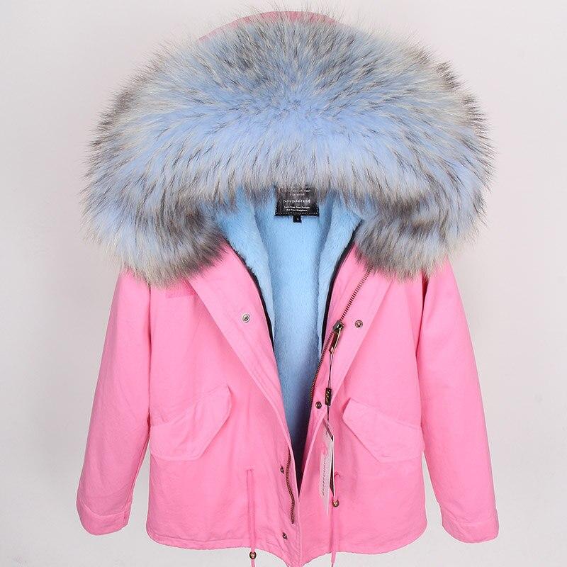 2018 размера плюс зимняя женская куртка с натуральным мехом, короткая куртка с воротником из натурального меха енота, парка с подкладкой из кр... - 6