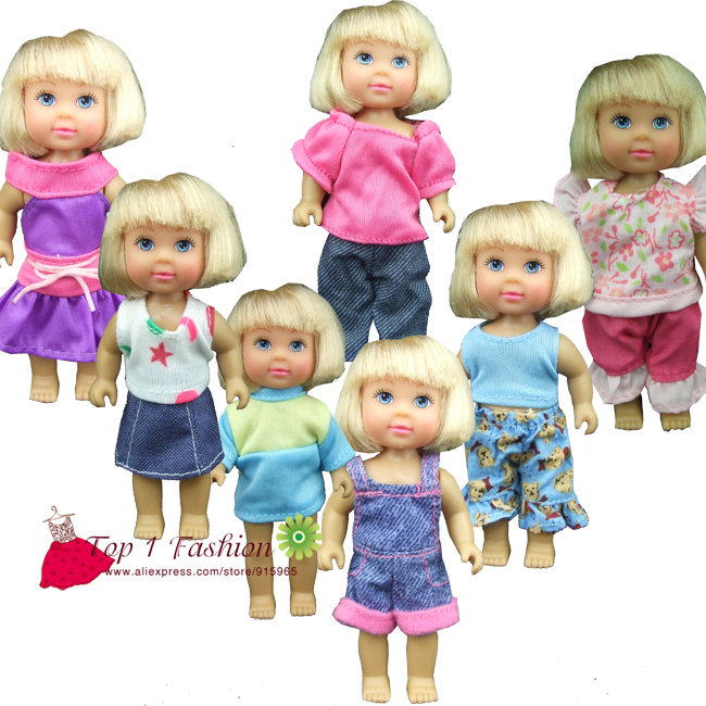 New arrvial 5pcs/set clothes suit and dress for mini kelly simba for mini barbie doll 30 new styles festival gifts top trousers lifestyle suit casual clothes trousers for barbie doll 1 6 bbi00636