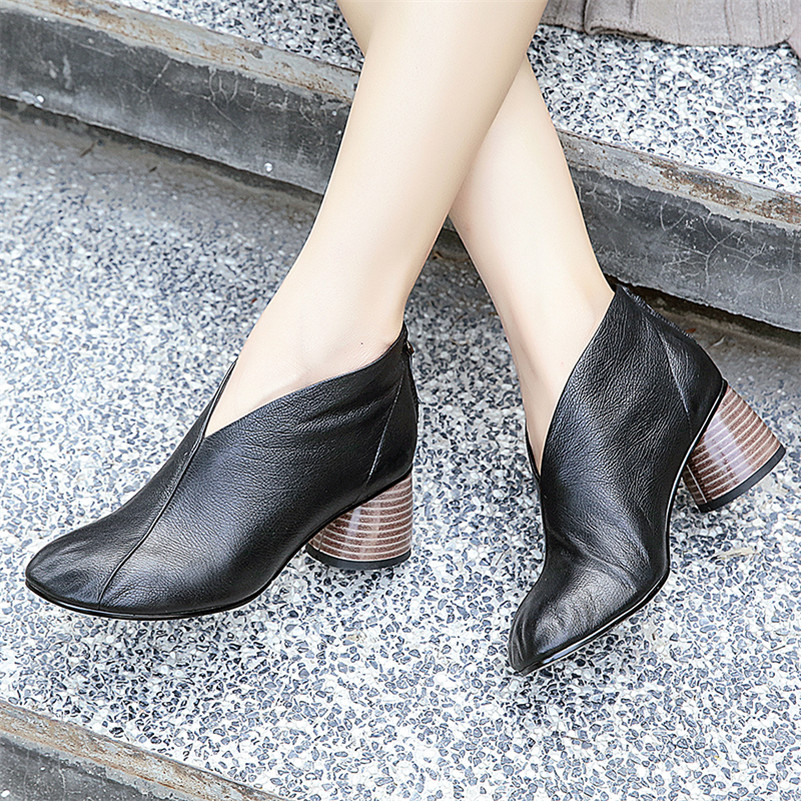 FEDONAS Women Retro Soft Genuine Leather Shoes Woman High Heels Pumps Vintage Autumn New Shoes Square Toe Tope Quality Pumps