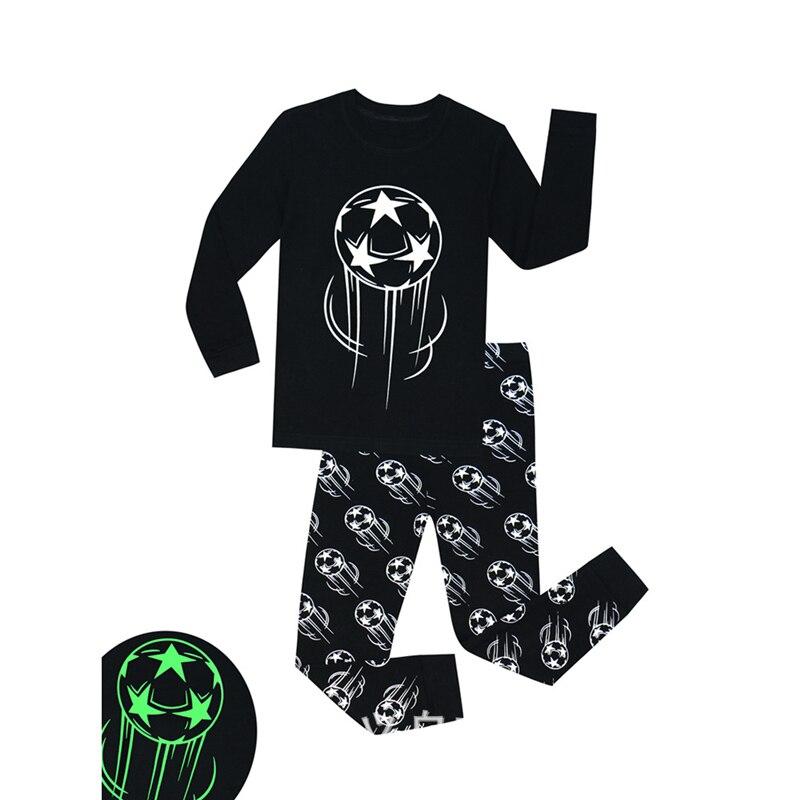 SAILEROAD Children's Pajamas Set Boys Luminous Pajamas Kids Football Printed Pyjamas Cotton Child Pijama Sleepwear Clothing Sets