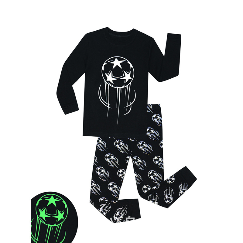SAILEROAD Children's   Pajamas     Set   Boys Luminous   Pajamas   Kids Football Printed Pyjamas Cotton Child Pijama Sleepwear Clothing   Sets