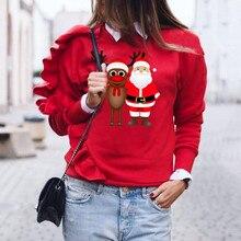 Рождественский женский свитер, Рождественский олень, длинный рукав, пуловер, рубашка, топы, блузка
