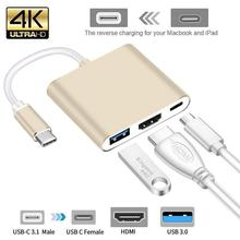 USB3.1 Aluminum Type C to HDMI+USB3.0 three-in-one PD power supply Support 4K conversion line Usbc to Hdmi For Apple Macbook