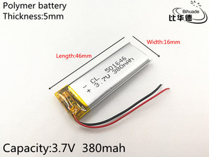 Image 3 - 10pcs/lot 3.7V 380mAh 501646 Lithium Polymer Li Po li ion Rechargeable Battery cells For Mp3 MP4 MP5 toy mobile bluetooth