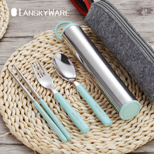 LANSKYWARE Creative 304 Stainless Steel Tableware Set With Wheat Straw Travel Dinnerware Portable Cutlery Container Dinner