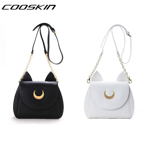 2015 girl kawaii cute Sailor Moon LUNA leather cat shoulder messenger crossbody Satchel bag fan metal moon