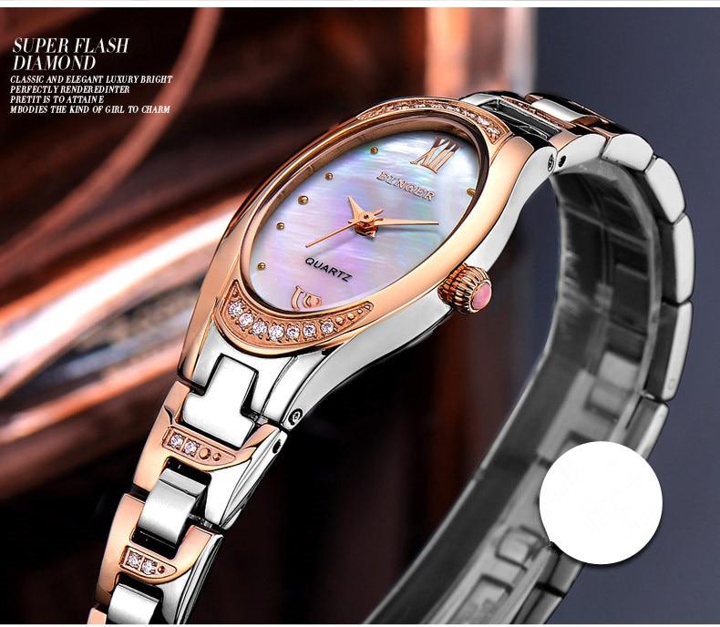 Moda Retro Oval Mulheres Pulseira Relógios de