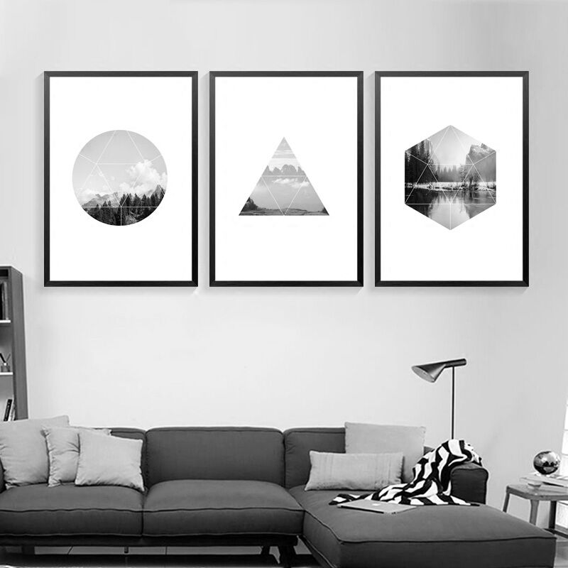 Nordic black white abstract landscape letters art canvas poster prints wall picture for living room home decor no frame dp0456 in painting calligraphy