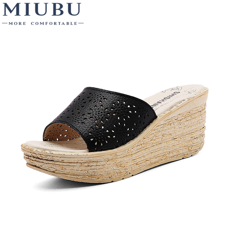 US $15.84 20% OFF|MIUBU Women Mules Clog Shoes Leather Slip on Peep Toe Ladies Cork Wedge Sandals Female Platform Sandals Shoes Flats Summer in Middle