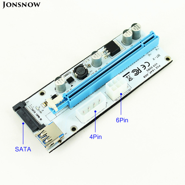 008S Risers PCIe PCI-E PCI Express Riser Card 1X 4x 8x 16x USB 3.0 Data Cable 4 Pin 6 Pin SATA Power Supply for BTC Miner
