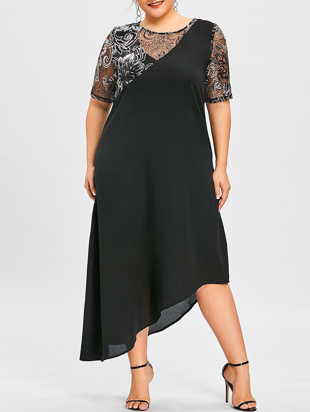 Lace Sequined Asymmetric Plus Size Maxi Dress Elegant Lace Sleeve Round Collar Party Dress Big Size Causal Beach Dress 4XL 5XL