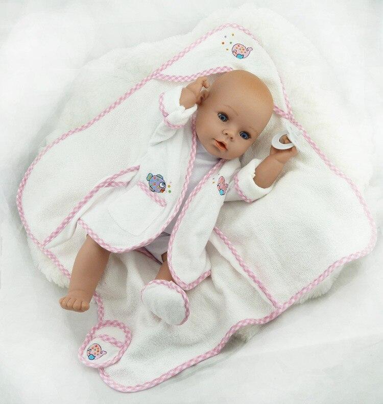 ФОТО 40cm Silicone Reborn Baby Doll Toy Newborn Baby Doll Girls Birthday Gift Present Plastic Vinyl Doll Play House Bathe Shower Toy