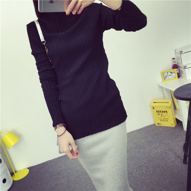 2017 spring high neck Long sleeve knitted sweaters women stand collar elastic force pullover female pull femme slim sweater