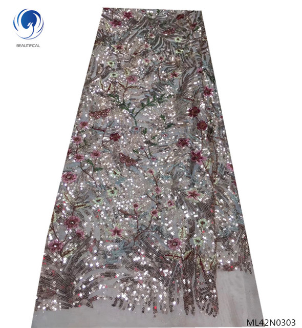 BEAUTIFICAL african french lace fabric sequins lace fabric net lace fabric with sequins free shipping for women party ML42N03
