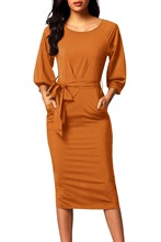 Autumn Women Dress Long Sleeve Slim Bodycon Pencil Dress Mustard Puff Sleeve Belt Chiffon Pencil Dress Female Midi Party Vestido exaggerate bell sleeve pencil dress