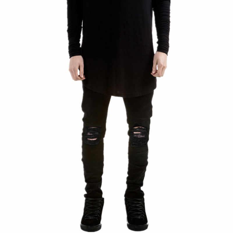 2016 Новый дизайнерский бренд мужские черные джинсы обтягивающие рваные Стрейчевые тонкие хип-хоп swag tyga мужские джинсовые байкерские брюки Jogger kanye west