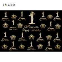 Laeacco Crystal Baby 1st Birthday Crown Backdrop Photography Background Customized Photographic Backdrops For Photo Studio