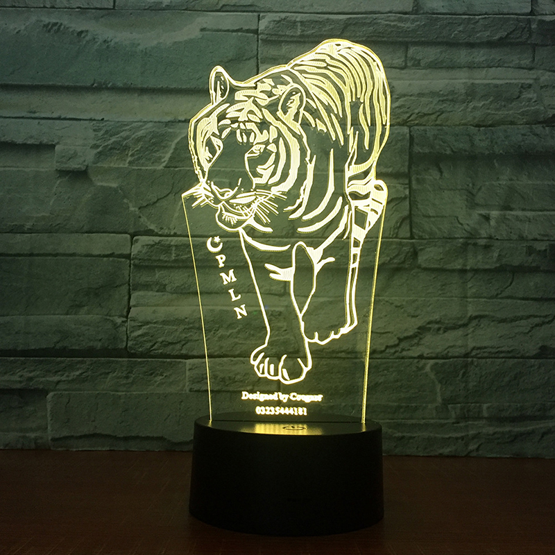 Lumiwell Tiger 3D LED Night Lights Tiger with 7 Colors for Home Decoration Lamp Amazing Table lamp RGB Color change led chelsea football club 3d lamp usb 7 color cool glowing base home decoration table lamp children bedroom night lights
