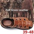 Big Size 39-48 Verão Cheio de Grãos de Couro Sandálias Homens Extrawide Sapatos Novos Chegada Respirável sapatos de Couro Macio Casuais Praia Sapatas dos homens