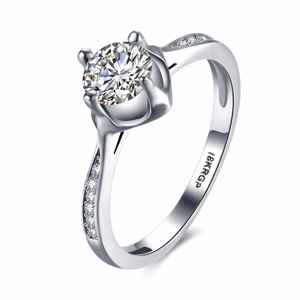 Серебряный тон Свадьба Кольца женщина пара Кольца для женщин с Белый Кристалл Посеребренная обещание Обручение Альянс кольцо женщина