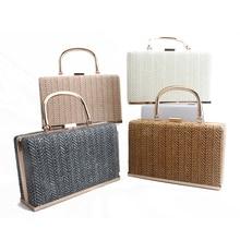 New Straw Bag Wallet Handbags Rattan Bag Handmade Woven Summer Travel Beach Bag Luxury Handbags Women Bags Designer Metal Tote цена в Москве и Питере