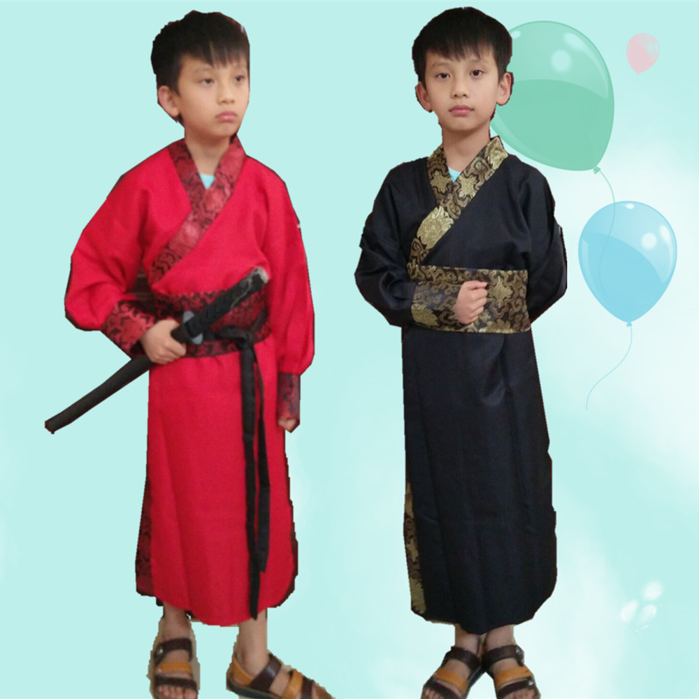 Ancient Chinese Costume Boys Stage Performance Outfit for Dynasty Child Hanfu Costume Satin Robe Chinese Traditional Dress Boys