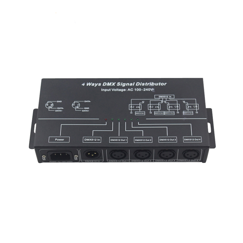 AC100 240V 4 ways DMX signal distributor used for amplifying DMX512 digital lighting control signal 4 channels allocation output|dmx signal amplifier|dmx amplifier|dmx output - title=