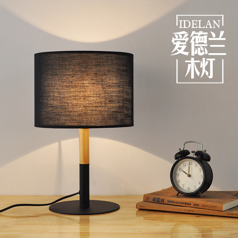 TUDA simple modern wood table lamps bedroom study room living room solid wood LED desk lamp wooden lamp tuda glass shell table lamps creative fashion simple desk lamp hotel room living room study bedroom bedside lamp indoor lighting