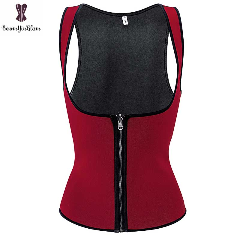 5195040cc06 Detail Feedback Questions about Neoprene Vest Sauna Waist Trainer Burgundy  Black Front Zipper Closure Underbust Body Shaper Sweat Sauna Corset Women  ...