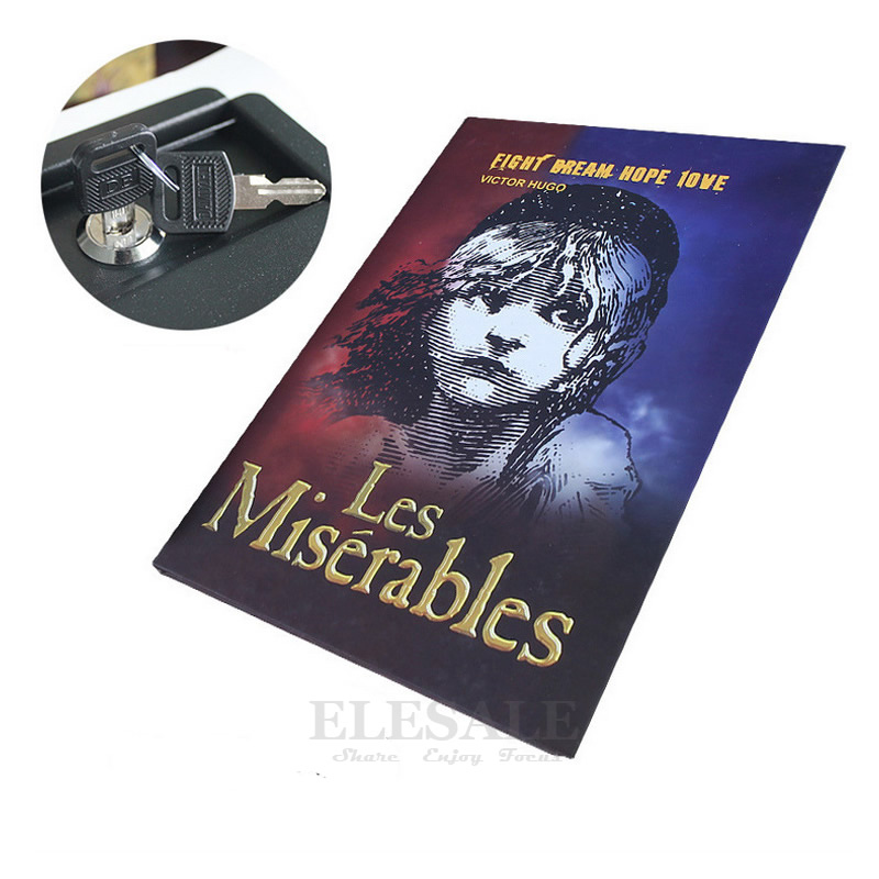 New Security Hidden Safe Box Classic Real Book Safe Key Lock Metal Simulation Book Style Les Miserables 222*152*45mm