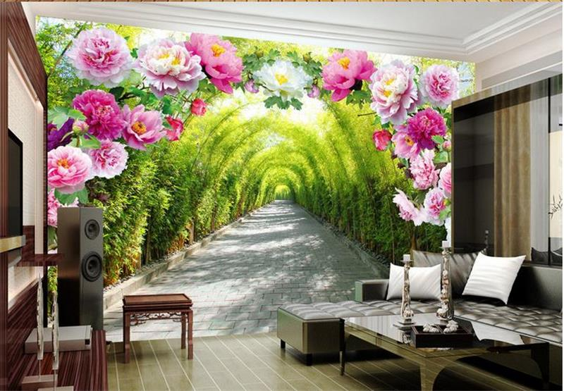 3d room wallpaper custom mural photo 3d Flower door promenade painting picture 3d wall non-woven murals wallpaper for walls 3d 3d room wallpaper custom mural non woven wall sticker golden vase green pink flower painting photo murals wallpaper for walls 3d