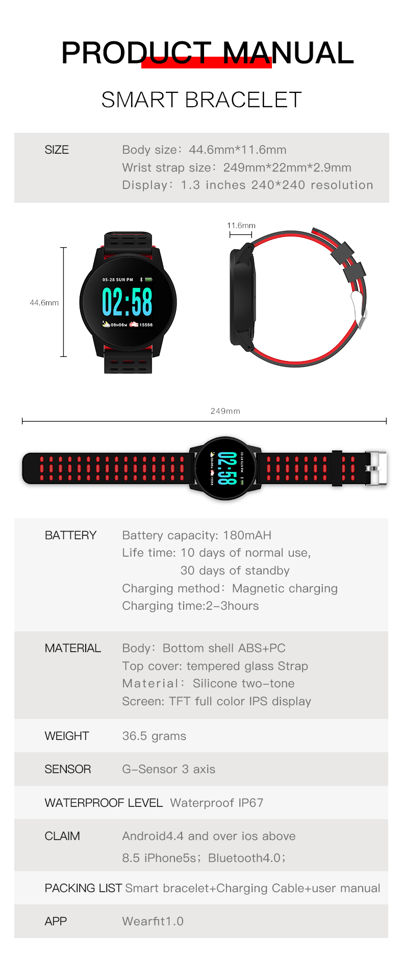 LEMFO W1 Sport Smart Watch IP67 Waterproof Heart Rate Monitor Strap Replaceable Smartwatch Men For Android IOS Phone Pedometer 12