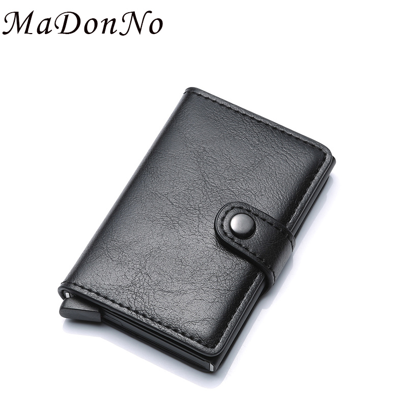 MaDonNo Anti Rfid Protection Men Women Box Credit Card Holder Pu Leather Vintage Slim Mini Wallet Aluminum Business id Card Case stylish alligator pattern portable pu leather aluminum alloy magnet business card case brown
