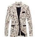 Homens blazers florais 2017 nova marca designer de moda vintage magro custom fit linho flor casual vestido do terno de negócio blazer