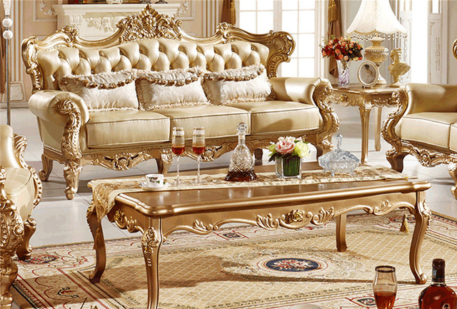 European Combination Living Room Furnitures Sectional Sofa Sets Couch Leather Solid Wood Frames Sofas S03
