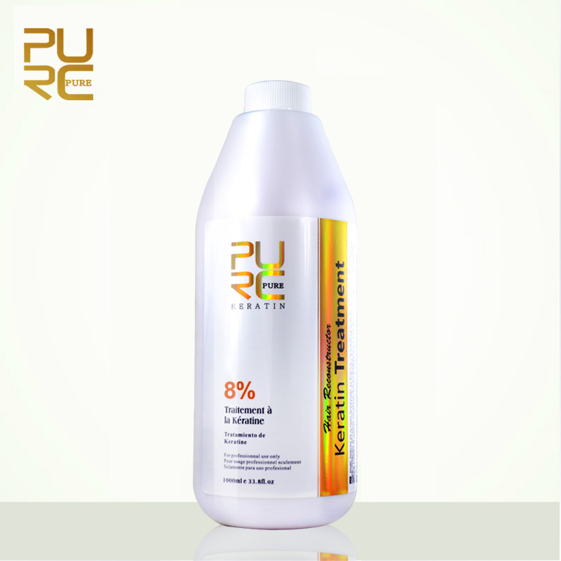Purc Бразильский формалина Обработка волос кератина 8% 1000 мл Лидер продаж чистый Кератиновое выпрямление для волос Бесплатная доставка 11.11