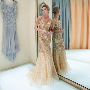 Image 2 - גבוהה באיכות חרוזים ערב שמלות ארוך 2019 בת ים כבוי כתף ערב שמלות חיג אב נשף שמלת טול פורמליות שמלת Vestido