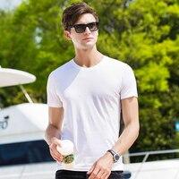 Men short sleeve T shirt 2019 Summer New Casual Tops Tee soft silk basic style Hot Pink Blue White Black 38209