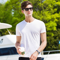 Men short sleeve T shirt 2019 Spring New Casual Tops Tee soft silk basic style Hot Pink Blue White Black 38209