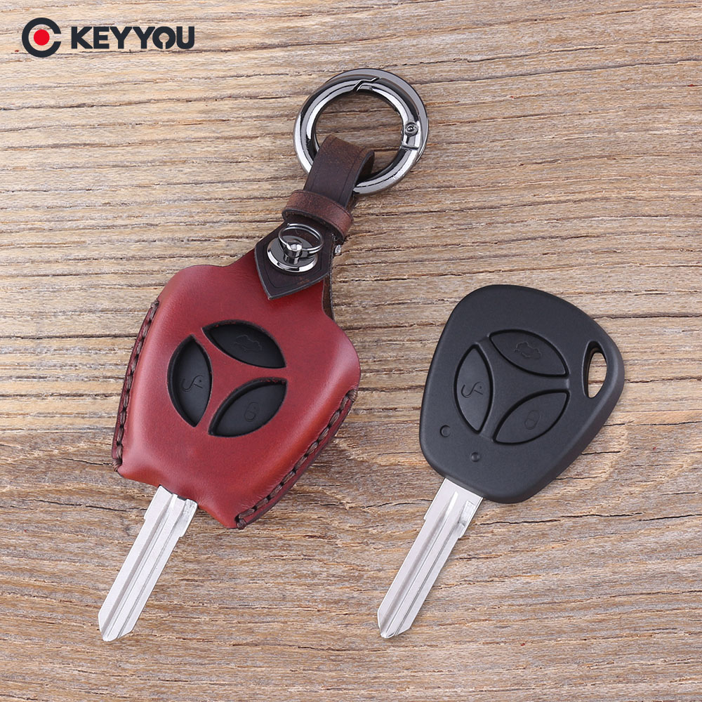 KEYYOU Leather Keychain 3 Buttons Car Key Case Fob For LADA Priora Sedan Sport Kalina Granta Vesta X-Ray XRay Key Shell Cover